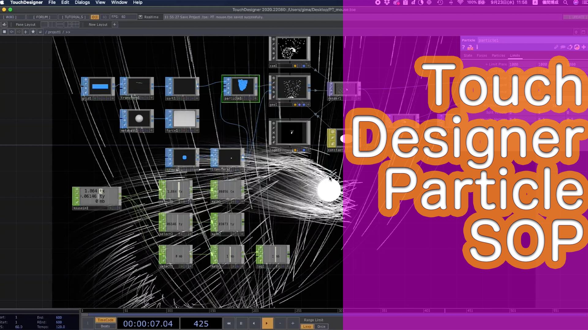 TouchDesigner[ParticleSOP]